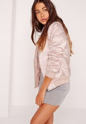 Missguided Satin Quilted Sleeve Bomber Jacket Pale Pink Pink