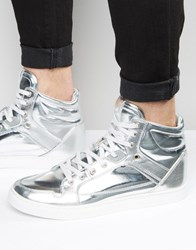 Asos High Top Trainers In Silver With Panels Silver