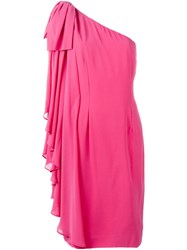 Jean Louis Scherrer Vintage One Shoulder Dress Pink And Purple