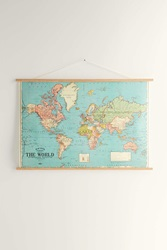 Urban Outfitters Hanging World Map Art Print Blue