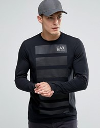 Emporio Armani Ea7 Long Sleeve Top With Graduated Stripe Front Black