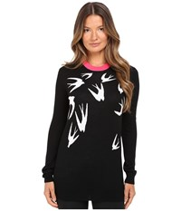 Mcq By Alexander Mcqueen Swallow Jacquard Crew Neck Black White Women's Clothing
