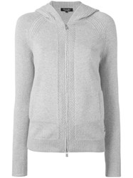 Loro Piana Hooded Zip Cardigan Grey