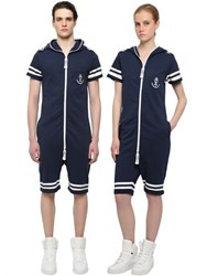 Onepiece Naval French Terry Cotton Jumpsuit