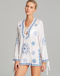 Surf Gypsy Embroidered Tunic Swim Cover Up White