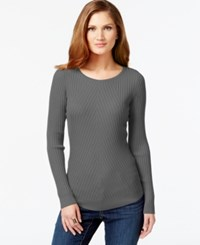 Inc International Concepts Petite Ribbed Crew Neck Sweater Only At Macy's Heather Grey