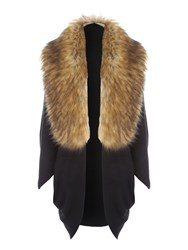 Jane Norman Faux Fur Trim Cocoon Cardi Black