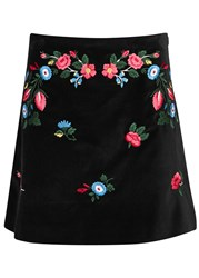 Vivetta Black Floral Embroidered Velvet Mini Skirt