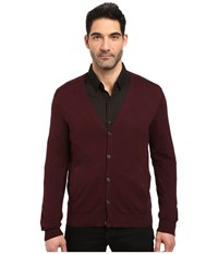 John Varvatos Long Sleeve Cardigan Sweater W Contrast Piping Y1327s3b Port Men's Sweater Burgundy