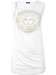 Versace Draped Medusa Tank Top White
