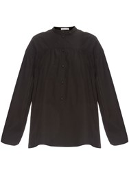 Tomas Maier Gathered Yoke Poplin Blouse Black