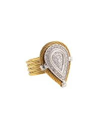 Alor 18K Four Row Micro Cable Diamond Teardrop Ring Yellow
