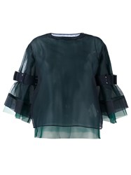Sacai Semi Sheer Buckled Sleeve Blouse Blue