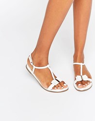 Faith Jessie White Bow Flat Sandals White