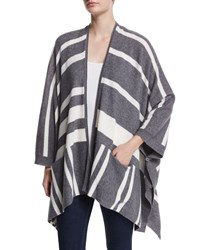 360Cashmere Waverly Striped Cashmere Cardigan Gray Pattern