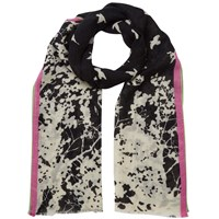East Degrade Bird Printed Scarf Black