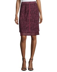 J. Mendel Lace Overlay Pencil Skirt Vin