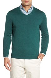 John W. Nordstromr Men's Big And Tall Nordstrom Merino Wool V Neck Sweater Green Sycamore