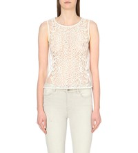 Allsaints Embroidered Lace Top Chalk White
