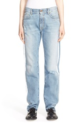 Aries 'Simon' Reflective Tape Contrast Pocket Jeans Blue And Silver