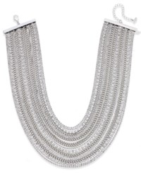 Abs By Allen Schwartz Silver Tone Crystal And Chain Collar Necklace