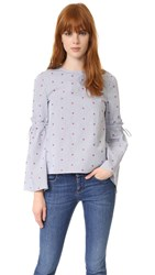 Tanya Taylor Martine Top White Midnight Embroidered Mic
