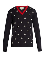 Gucci Bee Jacquard V Neck Wool Sweater Navy