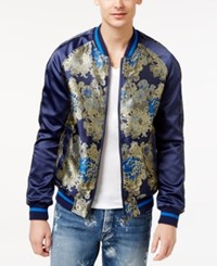 Guess Men's Embroidered Bomber Jacket Blue Jacquard