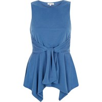 River Island Womens Blue Knot Front Sleeveless Top
