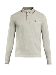 Moncler Long Sleeved Cotton Polo Shirt Light Grey
