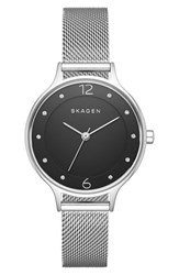 Skagen Women's 'Anita' Crystal Index Mesh Strap Watch 30Mm Silver Black
