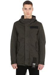 G Star Hooded Cotton Parka W Patches
