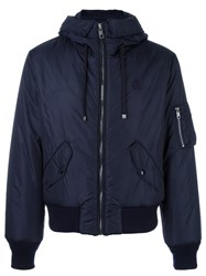 Dolce And Gabbana Hooded Bomber Jacket Blue