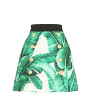Dolce And Gabbana Printed Cotton And Silk Jacquard Miniskirt Green