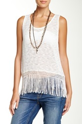 Painted Threads Knit Fringe Tank White
