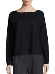 Eileen Fisher Wool Boatneck Sweater Black