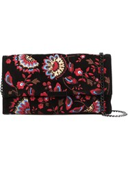 Loeffler Randall Floral Embroidered Clutch Black