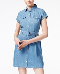 American Rag Short Sleeve Denim Shirtdress Only At Macy's Louisa Wash