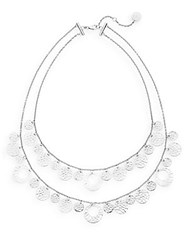 Ron Hami Silver Lining Tiered Lace Coin Bib Necklace