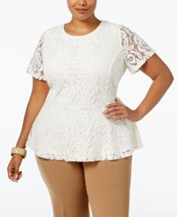 Charter Club Plus Size Lace Peplum Top Only At Macy's Vintage Cream