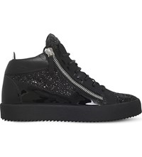 Giuseppe Zanotti Mid Top Leather And Glitter Trainers Black