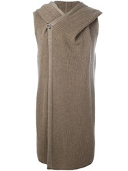 Rick Owens Sleeveless Knit Hoodie Nude And Neutrals