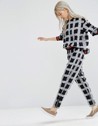 Asos White Pull On Trousers In Textured Check Multi