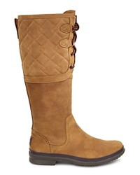 Ugg Elsa Quilted Leather And Sheepskin Lace Up Tall Boots Chestnut