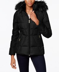 Calvin Klein Faux Fur Lined Quilted Puffer Coat Black