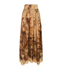 Alberta Ferretti Floral Silk Maxi Skirt Female Gold