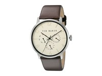 Ted Baker Classic Collection Custom Multifunction Sub Eye W Contrast Detail Date Leather Strap Watch Beige Watches