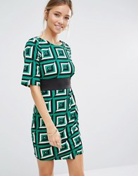 Closet London Geo Print Wrap Skirt Dress Green Black White
