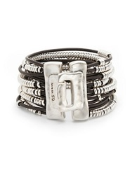 Uno De 50 Bead And Leather Layered Bracelet Brown