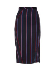 Altuzarra Monro Striped Wool Blend Pencil Skirt Navy Stripe